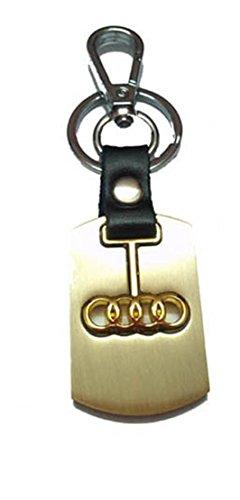 City Choice Beautiful Audi Alloy & Leather Car&Bike Keychain Locking Hook Keyring(Golden)