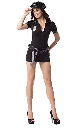 [Focussexy Women's Sexy Police Uniform Masquerade Clothes with Handcuffs] (Sexy Cop Uniform)