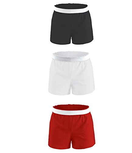 Soffe Girls Authentic Short Multipack (Pack of 3) (X-Large, Blk/Wht/Red) Soffe Cheer Shorts