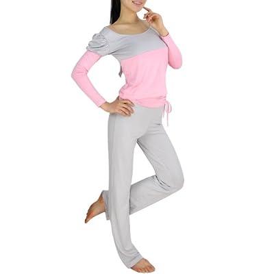 VENI MASEE® Womens assorted-Farben-Design Fitness-Yoga / Tanz Set, langärmeliges Oberteil und Hose