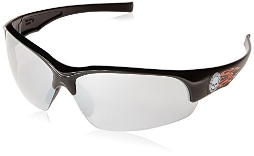 Harley Davidson HD1503 Safety Eyewear with   Black Frame, Silver Mirror Lens Tint and Anti-Scratch Hard Coat Lens Coating
