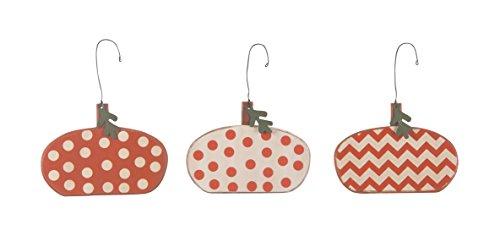 PBK Wood Hand Painted Pumpkin Ornaments Orange & White 3/set