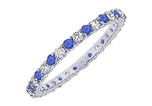 Sapphire and Diamond Eternity Bangle : Platinum - 10.00 CT TGW
