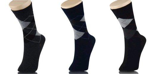 3 Pair Men'S Argyle Cotton Dress Socks - Large 10-13, Assorted Colors