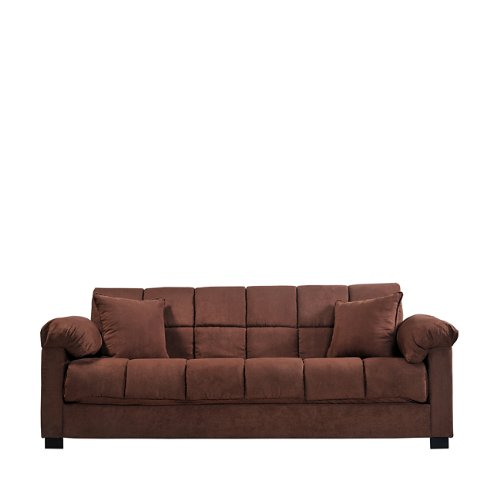Handy Living CAC4-S1-AAA89 050 Living Room Convert-A-Couch Microfiber Sleeper Sofa With Pillow Top Arms, Dark Brown With 2 Decorative Decorative Throw Pillows