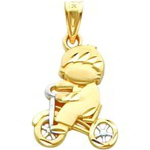 14K Two Tone Gold Diamond Cut Boy On Bike Charm
