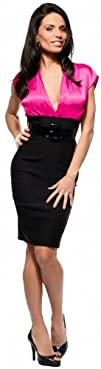 FITTED CAREER WOMAN COCKTAIL HIGH WAIST PENCIL SATIN DRESS