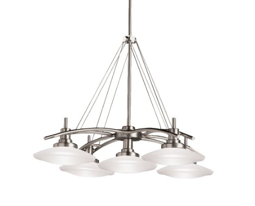 Kichler Lighting 2055NI Structures 5-Light Halogen Chandelier, Brushed Nickel with Satin-Etched Glass