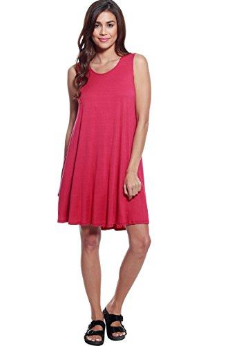 A+D Womens Loose Fit Flowy Stretch Knit Tank Midi Dress (Berry, Medium)