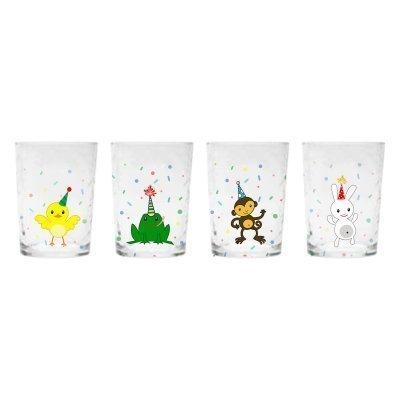 Kid's Birthday Party Farm Zoo Animal Cups 4-piece Set w/ Rabbit, Monkey, Frog & Chick