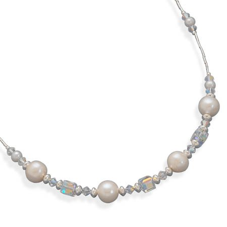 16 Inch+2 Inch Extension Liquid Silver Necklace with Cultured Freshwater Pearls and Austrian Crystals