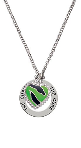 Lime Green Zebra Print Heart - The Cure Affirmation Necklace