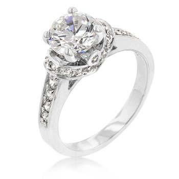 Engagement Ring With A Prong Set Cubic Zirconia (Cz) Center Stone And Accent Stones Polished Into A Silver-Tone Finish -3.1 (Ct)