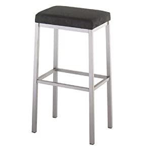 "Bradley 26"" Backless Counter Stool Metal Finish: Black Coral, Seat Type: Bonded Leather - Shadow"