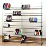 TransDeco Glass Multimedia CD/DVD Rack for 792 CD 552 DVD, Clear