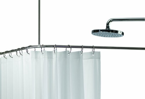 Spirella Slim Corner Enclosure Stainless Steel Shower Curtain Rail Enclosure Size 170 cm x 75 cm Diameter 12.7 mm, Polished Chrome