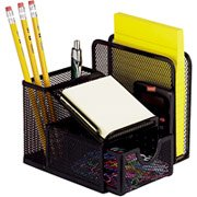 Staples Mesh Desk Set, Office Manager, 5 1/4 H x 5 1/2 W x 5 D inches - Black