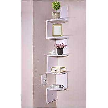 Adorn Home Essentials decrotive Corner Zig Zag Wall Mount Shelves for Living Room, Bedroom, Bathroom, Office, displays, Kitchen   5-Tier, White