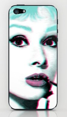 並行輸入品オードリー・ヘップバーン society6 iphone 5/5sステッカー (Audrey3)
