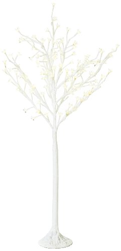 Arclite Nbl-130-3 Cherry Blossom Tree, 4.5' Height, With White Trunk, Clear Crystals And Warm White Lights