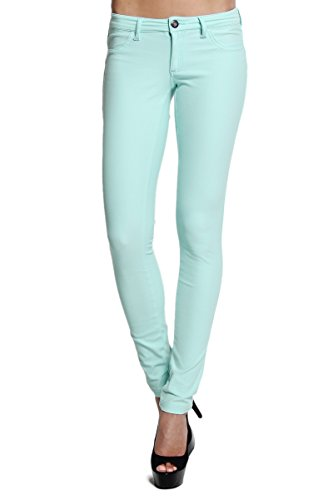 Themogan Women'S Candy Colored Stretch Skinny Pants - Mint - Small
