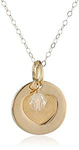 """Duragold 14k Gold Heart Disc Pendant Necklace with April Crystal Birthstone, 18"""""""