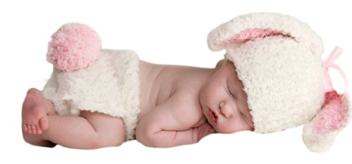 Melondipity Girls Handmade Organic White, Pink Bunny Baby Hat & Diaper Cover Set