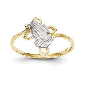 Genuine IceCarats Designer Jewelry Gift 10K & Rhodium Praying Hands Cz W/Cross Ring Size 6.00