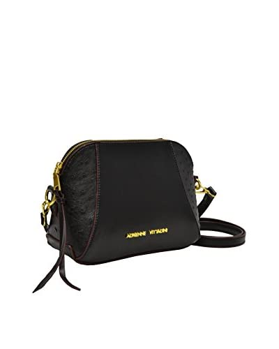 Adrienne Vittadini Women's Ostrich Dome Top Zip Crossbody, Black