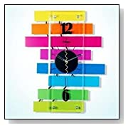 LGI Contemporary Modern Decorative Glass Metal Wall Clock with Colorful Bars - Pride Clock