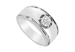 FineJewelryVault UBM300W14D-101 Mens Diamond Ring : 14K White Gold - 1.00 CT Diamonds - Size 7