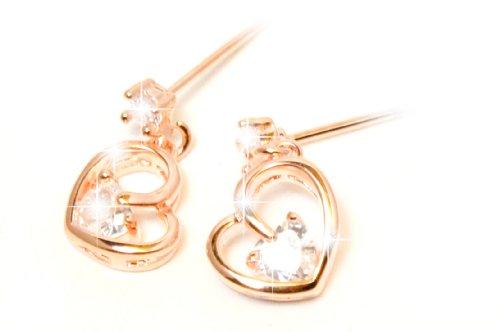 [Priva] dealings Smart CZ cubic zirconia heart earrings Pink ladies