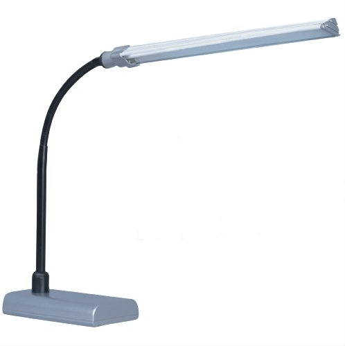 Park Madison Lighting PMD-3701-60 16-Inch Tall LED Desk Lamp with Fully Adjustable Gooseneck Column, Metallic Silver Finish