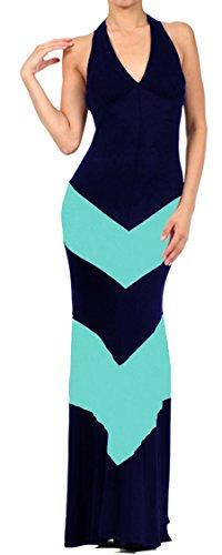 Zoozie LA Women's Halter Top Maxi Dress Chevron Navy Teal L