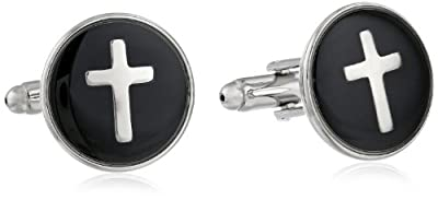 Status Men's Cuff Links Round Enamel With Cross