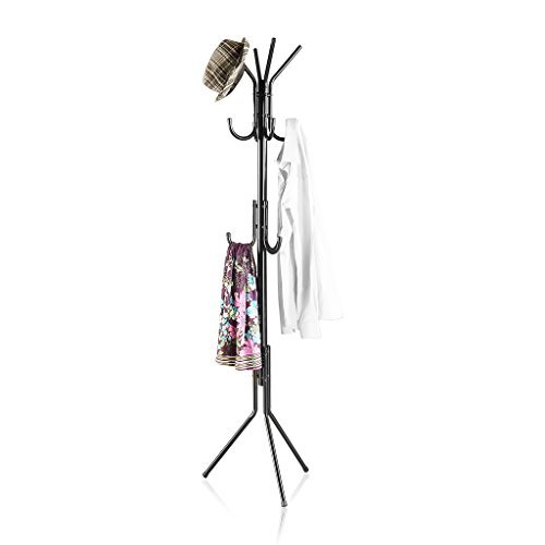 LANGRIA Metal Coat Rack Free Standing Display Stand Hall Tree with 3 Tiers and 11 Hooks for Clothes Scarves and Hats, Black Finish (Coat Hanger Stand compare prices)