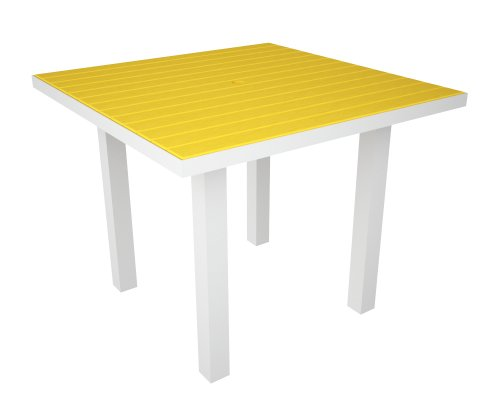 Polywood Euro All-Weather Dining Table, White with Yellow Slats