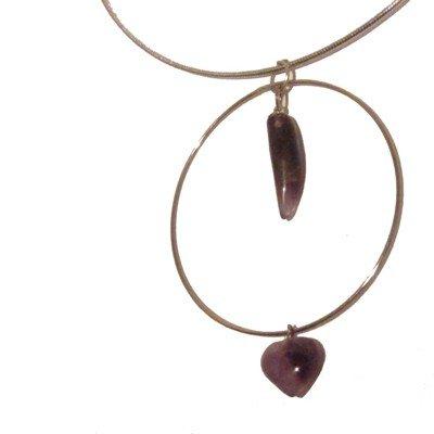Amethyst Necklace 02 Choker Silver Purple Fang Heart Charm Hoop 16
