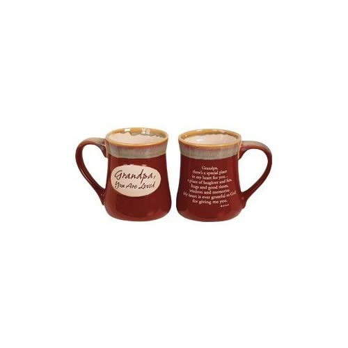 Boxed - GRANDPA -You are Loved - 16 oz Stoneware COFFEE MUG with VERSE- Christmas HOLIDAY GIFT/Birthday/DISHWASHER-MICROWAVE Safe/GRANDFATHER/POTTERY