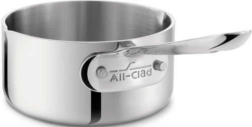 All-Clad 42006 Stainless Steel Tri-Ply Bonded Dishwasher Safe Butter Warmer / Cookware, 0.5-Quart, Silver