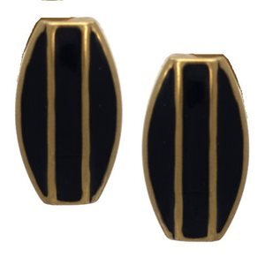 Imilia Gold Plated Black Clip On Earrings by Rodney