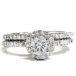1.20CT Diamond Pave Halo Ring 14K White Gold