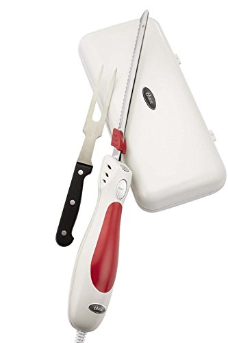 Oster FPSTEK2800 Accentuate Electric Knife and Case with Storage Case and Fork, Red