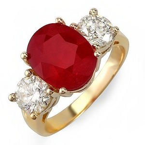 Vintage 5.21 Ct Natural Ruby & Diamond Ring 14 K Gold