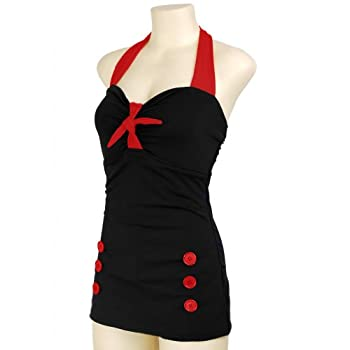 PinupClothingOnline Women's Bow Front Vintage Pin up Rockabilly Swimsuit