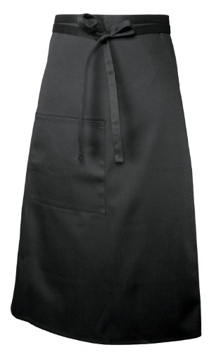 Chef Works F24 Bistro Apron, 32-Inch Length by 28-Inch Width, Black
