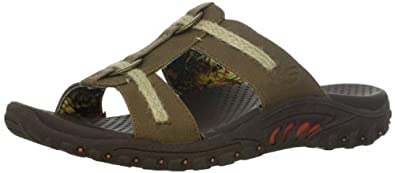 "Women's Skechers Slide Sandals ""Reggae-Lion Zion"" - Brown (#48144) (8, Brown)"