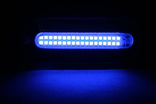 """2 New 5"""" Blue W Stainless Steel Cover 36 Led Underwater Waterproof Lights Surface/Transom Mount 12V"""