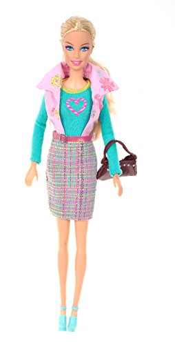 Banana Kong Doll's Chic Shirts,Vest Coat,Grid Peplum Skirt Set - 1