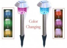 Garden Sun 12-Pack Stainless Steel Hut Color Changing LED Solar Lights